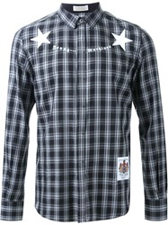 Education From Youngmachines Plaid Star Print Button Down Shirt Black