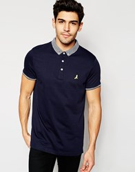 Brave Soul Knitted Contrast Collar Polo Shirt Navy