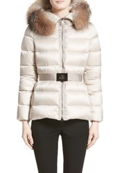 Moncler Women's 'Tatie' Belted Down Puffer Coat With Removable Genuine Fox Fur Trim Champagne