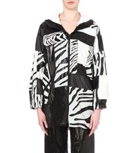 Koche Zebra Patterned Shell Coat Black White