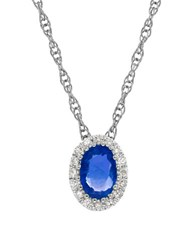 Lord And Taylor Sapphire Diamond 14K White Gold Pendant Necklace