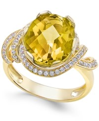 Macy's Citrine 4 1 4 Ct. T.W. And White Topaz 1 3 Ct. T.W. Ring In 14K Gold Plated Sterling Silver Yellow Gold