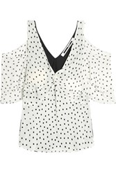 Mcq By Alexander Mcqueen Cold Shoulder Polka Dot Georgette And Satin Top Off White