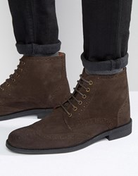 Lambretta Brogue Boots In Brown Suede Brown