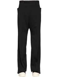 Rick Owens 29Cm Stretch Virgin Wool Gauze Pants Black