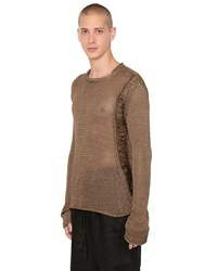 Isabel Benenato Destroyed Fishbone Knit Cotton Sweater