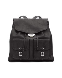 Rag And Bone Field Leather Flap Backpack Black