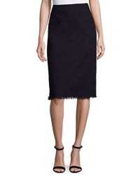 Nina Ricci Frayed Tweed Pencil Skirt Dark Purple