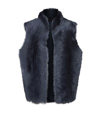 Reiss Tessa Reversible Shearling Gilet Female Blue