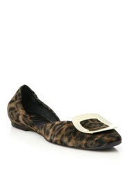Roger Vivier Ballerine Chips Leopard Print Suede D'orsay Flats Cocoa