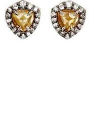 Nak Armstrong Women's Rustic And Pave White Diamond Stud Earrings Colorl Colorless