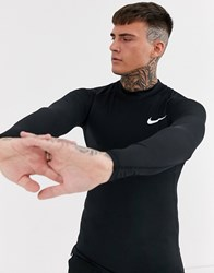 Nike Pro Training Long Sleeve Baselayer Top In Black With Turtle Neck