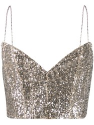Magda Butrym Beagle Sequin Cropped Top Silver