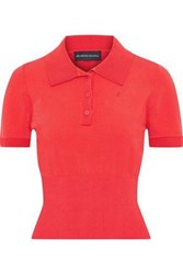 Brandon Maxwell Woman Stretch Knit Polo Shirt Tomato Red