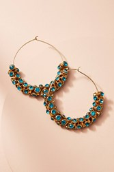 Anthropologie Sparkle Cuff Hoop Earrings Turquoise
