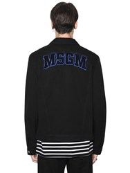 Msgm Logo Terry Patched Cotton Denim Jacket
