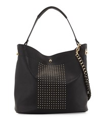 Neiman Marcus Sophia Studded Faux Leather Hobo Bag Black