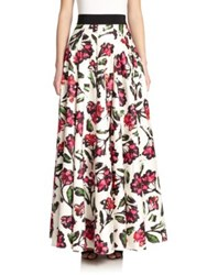 Milly Pleated Blossom Print Maxi Skirt Fuschia Multi