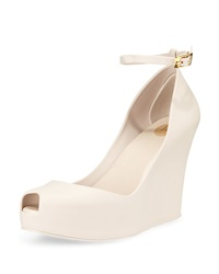 Melissa Shoes Patchouli Peep Toe Jelly Wedge Beige Red