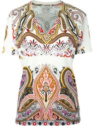 Etro Paisley Print V Neck T Shirt Multicolour
