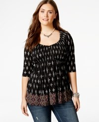 American Rag Plus Size Printed Scoop Neck Top Only At Macy's Classic Black Combo
