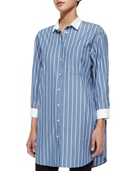 Atm Long Sleeve Striped Boyfriend Shirt