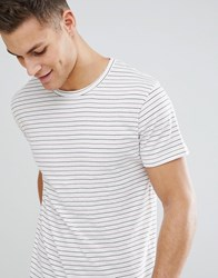Bellfield T Shirt With Red Stripe Off White Cream