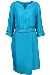 Raoul Carnaby Belted Silk Satin Twill Mini Dress Turquoise