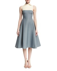 Valentino Sleeveless Collared Fit And Flare Dress Silver