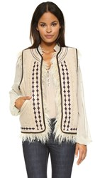 Free People Reversible Embellished Vest Almond