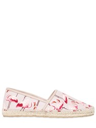 Red Valentino 10Mm Flamingo Print Canvas Espadrilles