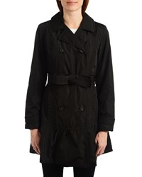 Kate Spade Flounce Double Breasted Trench Coat Black