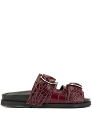 Ganni Buckle Strap Slippers Red