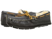 Minnetonka Sheepskin Lined Moose Slipper Black Moose Men's Moccasin Shoes