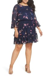 Eliza J Plus Size Floral Print Tiered Dress Navy