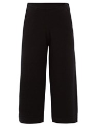 Allude High Rise Cashmere Cropped Trousers Black
