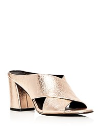 Kenneth Cole Women's Lyra Metallic Leather Block Heel Slide Mules Rose Gold
