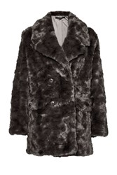 French Connection Nariko Fur Double Breast Coat Grey
