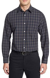 Men's Big And Tall Nordstrom Trim Fit Long Sleeve Plaid Poplin Sport Shirt Navy Peacoat Heather Plaid