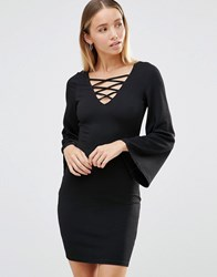 Ax Paris Lace Up Front Dress With Bell Sleeves Black