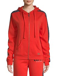 Peace Love World Patch Zip Up Hoodie Apple Red