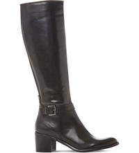 Dune Black Tollie Leather Knee High Boots Black Leather