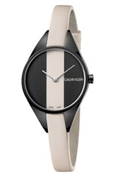 Calvin Klein Rebel Leather Band Watch 29Mm Cream Black