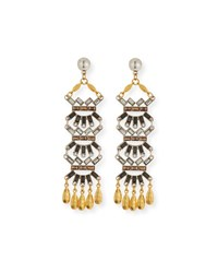Sequin Tiered Baguette And Coin Drop Earrings Silver