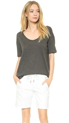 Alexander Wang Lightweight Low Neck Short Sleeve Tee Charcoal