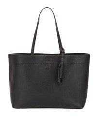 Tory Burch Mcgraw Pebbled Leather Tote Bag Black