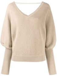 Brunello Cucinelli Ribbed Batwing Sleeve Jumper Neutrals
