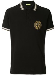 Versace Jeans Embroidered Logo Polo Shirt Black