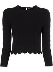 Alexander Mcqueen Scalloped Hem Knitted Jumper Black