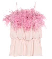 Prada Feather Trimmed Silk Top Pink